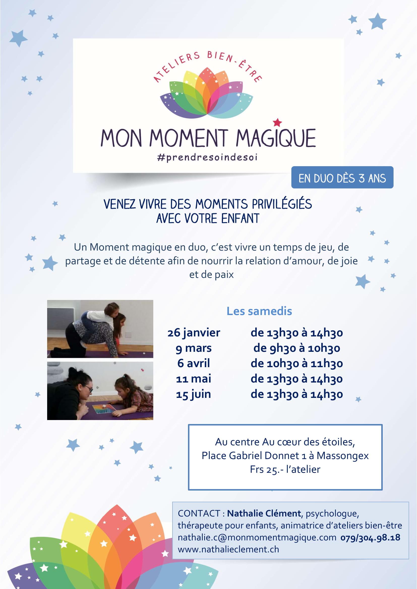 thérapeute pour enfant, mon moment magique, atelier parent-enfant, émotion, bien-être, chablais, suisse, Massongex